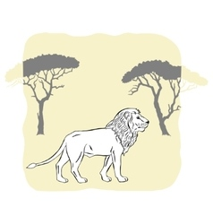 Lion between savannah trees vector