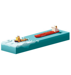 Low poly icebreaker breaking the ice vector