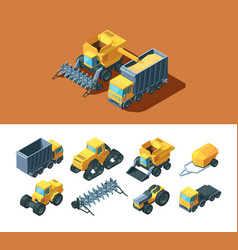 Machines agricultural isometric set vehicles vector