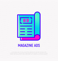 Magazine ad on front page thin line icon vector
