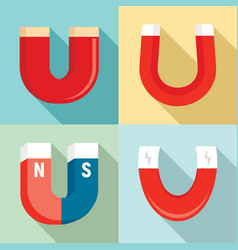 Magnet icons set flat style vector