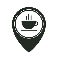 map pointer with hot coffee cup icon isolated on vector image