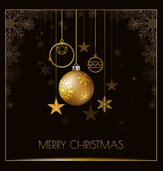 merry christmas design with glittering golden vector image