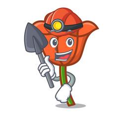 Miner poppy flower mascot cartoon vector