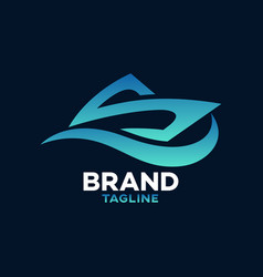 Modern sea boat and letter s logo vector