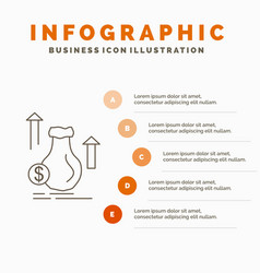 money bag dollar growth stock infographics vector image