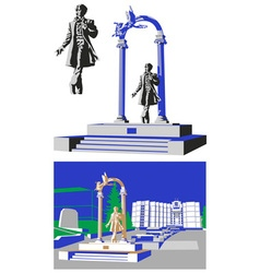 Monument Pushkin Saransk vector