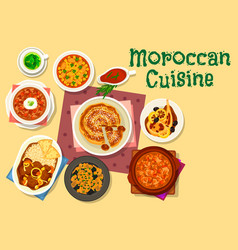 Moroccan cuisine traditional dishes icon design vector