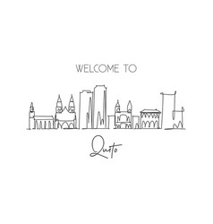 one single line drawing quito city skyline vector image
