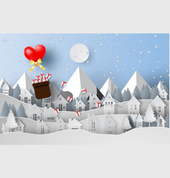 paper art and craft of merry christmas with vector image