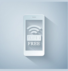 paper cut smartphone with free wi-fi wireless vector image