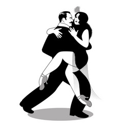 Passionate couple dancing tango-03-02 vector