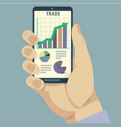 Phone and trade analysis vector image