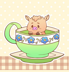 piggy cute little funny kawaii animal pet vector image