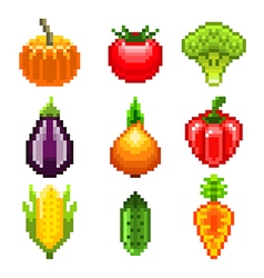 Pixel vegetables for games icons set vector