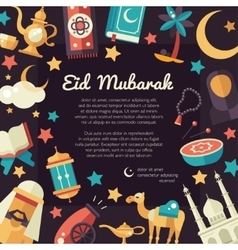 Postcard template with islamic culture icons vector