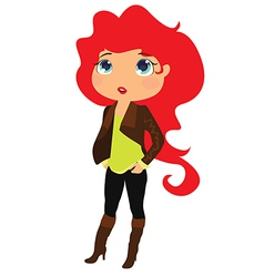 red-hair girl vector image