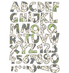 Retro paisley font set vector