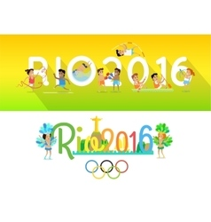 Rio 2016 Concept Banners in Flat Style Design vector image
