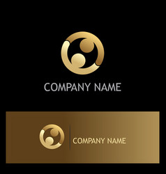 round couple connect gold logo vector image