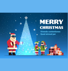 santa claus with elves wear digital glasses vector image