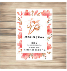 Save the date wedding invitation card with pink fl vector