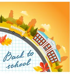 school building and bus vector image