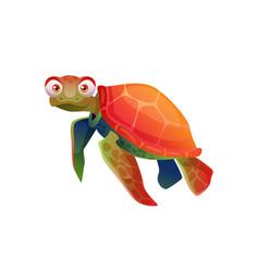 Sea tortoise turtle cartoon character isolated vector