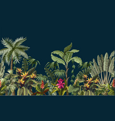 Seamless border with jungle trees and flowers vector