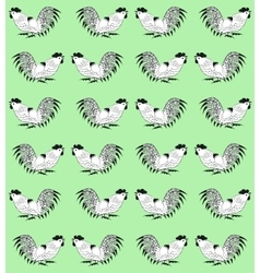 Seamless pattern with cocks on a green background vector image