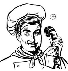 Serious cook talking on a retro phone vector