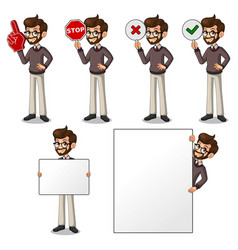 Set of hipster businessman holding sign board vector