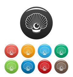 Shell with pearl icons set color vector