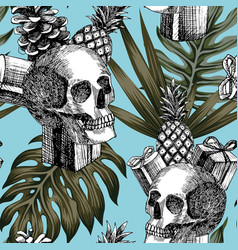 Skull gifts pineapple cone tropical background vector