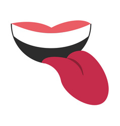 smiling mouth with tongue out icon image vector image