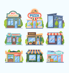 stores and market set facade colored shops vector image
