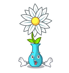 Surprised modern plant in a glass vase cartoon vector