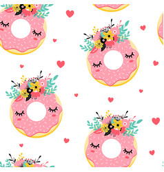 sweet donut and flower crown print design seamless vector image
