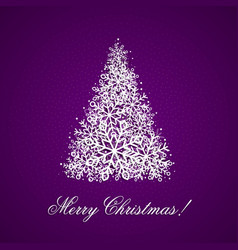the background with christmas tree from snowflakes vector image