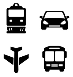 transport set icons vector image