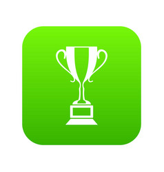 trophy cup icon digital green vector image