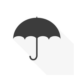 umbrella icon on white background with long shadow vector image