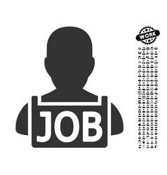 Unemployed icon with job bonus vector