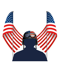 united stated flag with soldier and helmet vector image