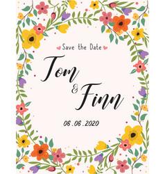Wedding invitation greeting card floral vector