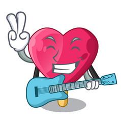 With guitar heart shaped ice cream the cartoon vector