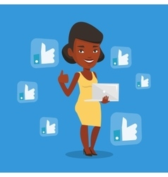 Woman with like social network buttons vector