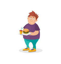 young fat guy holding hamburger and sweet drink on vector image