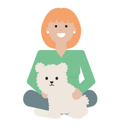young woman with little dog adorable mascot vector image