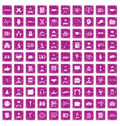 100 intelligent icons set grunge pink vector